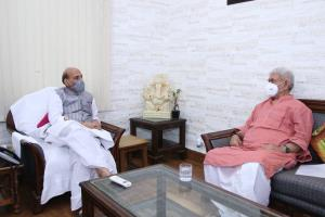 J&K LG Manoj Sinha meets Defence Minister in New ...