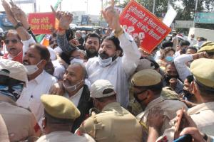 Congress stages protest in Jammu against new land...